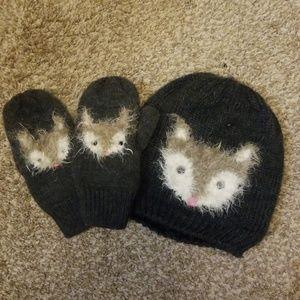 Fox Hat and Mitten Set